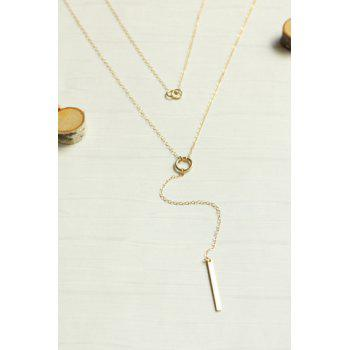 Layered Bar Circle Lariat Necklace