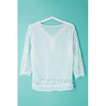 Elegant Women's V-Neck Hollow Out Fuzzy Ball Decorated 3/4 Sleeve Blouse - WHITE M