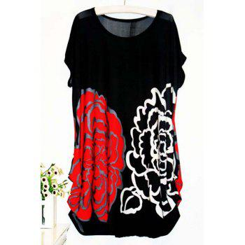 Casual Women's Scoop Neck Short Sleeve Floral Print Blouse