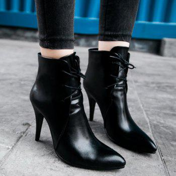 Stylish Solid Colour and Pointed Toe Design High Heel Boots For Women - BLACK 38