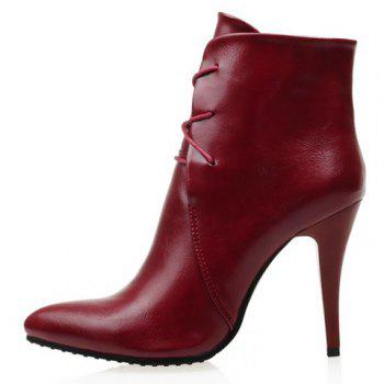 Stylish Solid Colour and Pointed Toe Design High Heel Boots For Women - RED 39