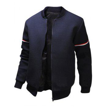 Buy Casual Stand Collar Colorized Striped Taps Rib Spliced Long Sleeves Men's Slimming Jacket