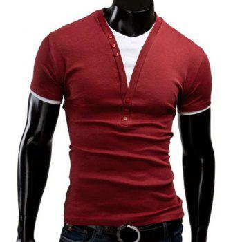 Slimming V-Neck Trendy Color Block Faux Twinset Short Sleeve Polyester Men's T-Shirt