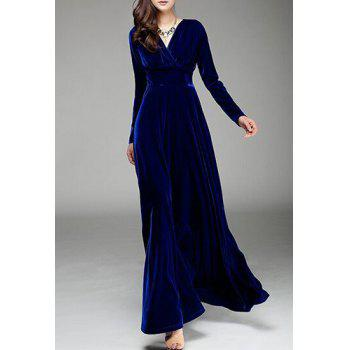 Stylish V-Neck Solid Color Long Sleeve Women's Maxi Dress