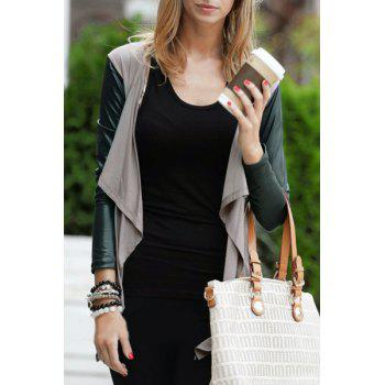 Stylish Long Sleeve Color Block Asymmetrical Draped Women's Jacket
