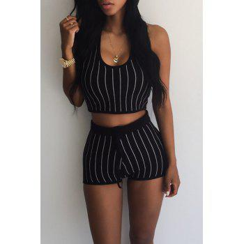 Sexy Striped Hooded Short Tank Top+ Shorts Sport Suit For Women