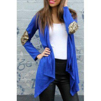 Attractive Stand Collar Sequin Spliced Cardigan For Women