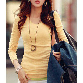 Stylish Women's V-Neck Long Sleeves Solid Color Slimming T-Shirt