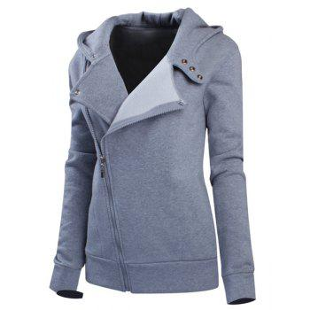 Stylish Women's Solid Color Long Sleeve Hoodie - GRAY L