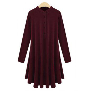 Casual Stand Collar Solid Color Plus Size Long Sleeve Women's Dress - WINE RED 2XL