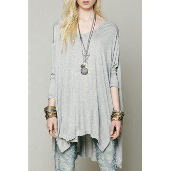 Casual Pure Color Side Slit Batwing Sleeve Loose T-Shirt For Women