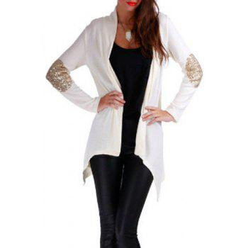 Chic Sequin Spliced Solid Color Shining Long Sleeve Cardigan For Women