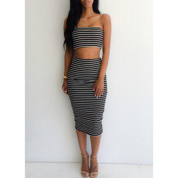 Sexy Sleeveless Strapless Striped Tube Top + High-Waisted Skirt Women's Twinset
