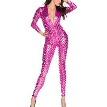 Fashion Plunging Neck 3/4 Sleeve Hollow Solid Color Out Jumpsuit For Women - ROSE ROSE