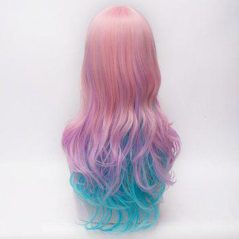 Fashion Pink Ombre Blue Long Side Bang Layered Heat Resistant Fiber Capless Wavy Wig For Women - OMBRE 2