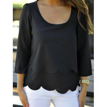 Stylish Double-Deck Three Quarter Sleeve Scoop Neck Hollow Out Women's Blouse