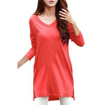 Simple Candy Color V-Neck Pockets Design Long Sleeve T-Shirt For Women