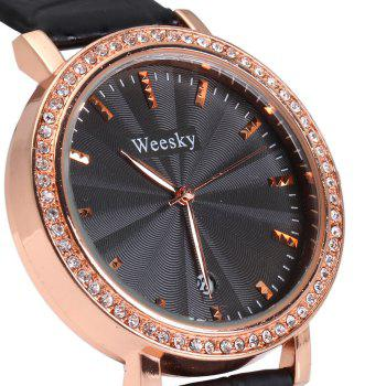 Weesky 1212G Golden Case Diamond Quartz Watch with Date Display for Women - PINK