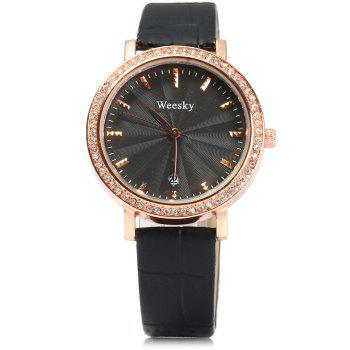 Weesky 1212G Golden Case Diamond Quartz Watch with Date Display for Women - WHITE
