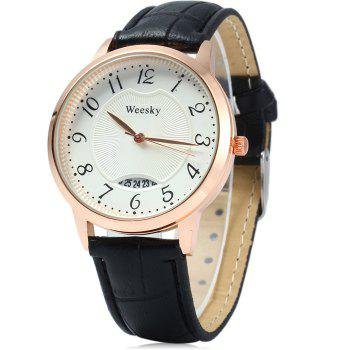 Weesky Leather Band Date Display Quartz Watch Golden Case for Women - WHITE