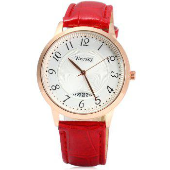 Weesky Leather Band Date Display Quartz Watch Golden Case for Women - BLACK
