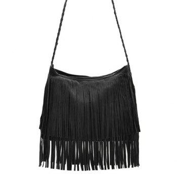 Stylish Weaving and Fringe Design Crossbody Bag For Women