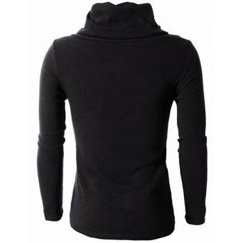 Irregular Hem Color Spliced Zipper Design Long Sleeves Slimming Men's High Collar Knitting Sweater - BLACK M