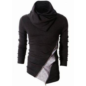 Irregular Hem Color Spliced Zipper Design Long Sleeves Slimming Men's High Collar Knitting Sweater