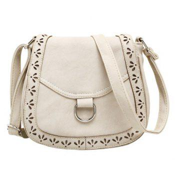 Vintage Openwork and Solid Color Design Crossbody Bag For Women