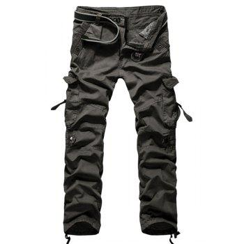 Fashion Loose Fit Multi-Pocket Solid Color Straight Leg Cotton Blend Cargo Pants For Men