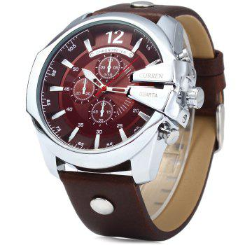 Curren 8176 Men Quartz Watch with Date Display Leather Band Decorative Sub-dials - BLUE