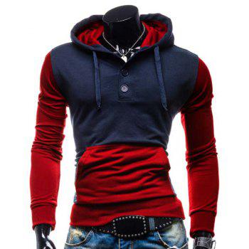 Slimming Hooded Modish Two Color Splicing Button Design Long Sleeve Cotton Blend Men's Hoodie