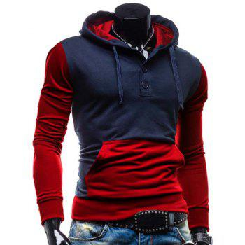 Slimming Hooded Modish Two Color Splicing Button Design Long Sleeve Cotton Blend Men's Hoodie - Rouge L