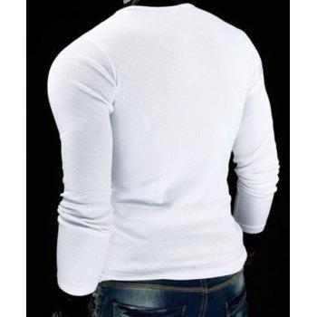 Slimming V-Neck Stylish Drawstring Faux Twinset Long Sleeve Polyester Men's T-Shirt - WHITE L
