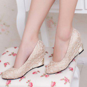 Elegant Lace and Round Toe Design Wedge Shoes For Women - OFF WHITE 38