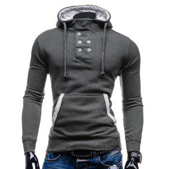 Buy Slimming Hooded Stylish Double Breasted Pocket Hemming Long Sleeve Cotton Blend Men's Hoodie DEEP GRAY