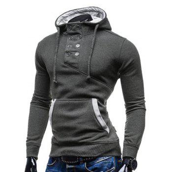 Slimming Hooded Stylish Double Breasted Pocket Hemming Long Sleeve Cotton Blend Men's Hoodie - DEEP GRAY XL