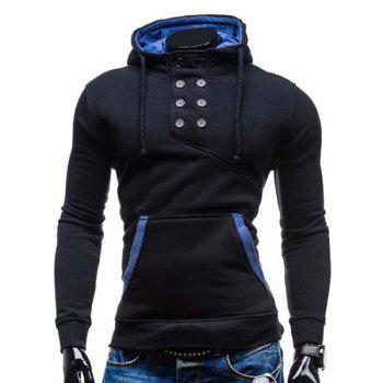 Buy Slimming Hooded Stylish Double Breasted Pocket Hemming Long Sleeve Cotton Blend Men's Hoodie BLACK