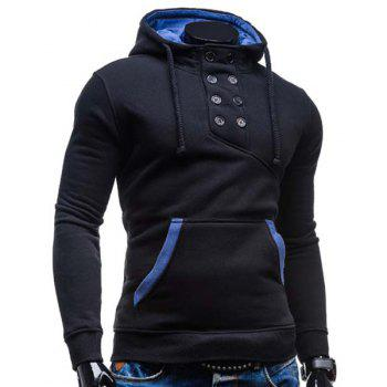 Slimming Hooded Stylish Double Breasted Pocket Hemming Long Sleeve Cotton Blend Men's Hoodie - BLACK L