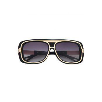 Chic Metal Inlay Matte Black Frame Sunglasses For Women -  BLACK