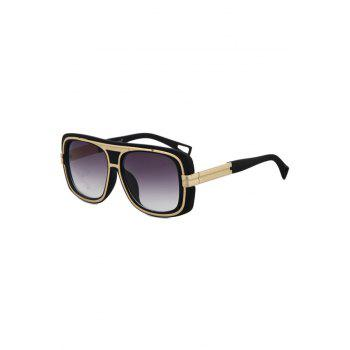 Chic Metal Inlay Matte Black Frame Sunglasses For Women