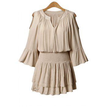 Stylish V-Neck Flare Sleeve Layered Elastic Waist Plus Size Women's Chiffon Dress - NUDE NUDE