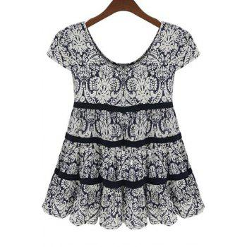 Fashionable Scoop Neck Black Printed Short Sleeve Blouse For Women