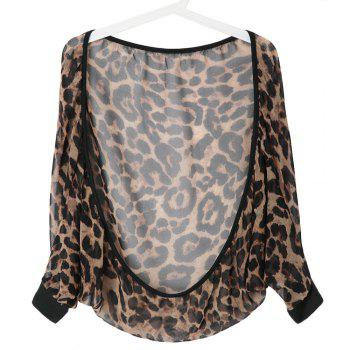 Sexy Collarless Batwing Sleeve See-Through Leopard Women's Blouse