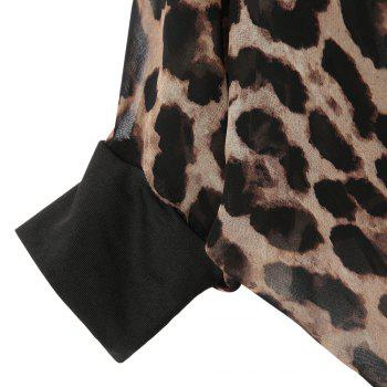 Sexy Collarless Batwing Sleeve See-Through Leopard Women's Blouse - AS THE PICTURE S