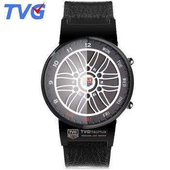 TVG IX6 Genuine Leather Strap Men LED Watch with 100M Water Resistance Day Date Function Fine Steel Case