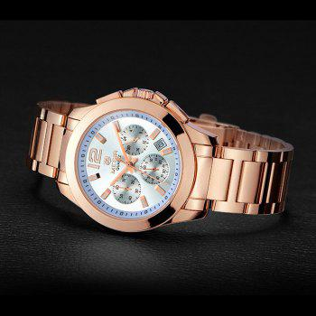 MEGIR 5006 Water Resistant Male Japan Quartz Watch with Stainless Steel Strap Working Sub-dials - ROSE GOLD