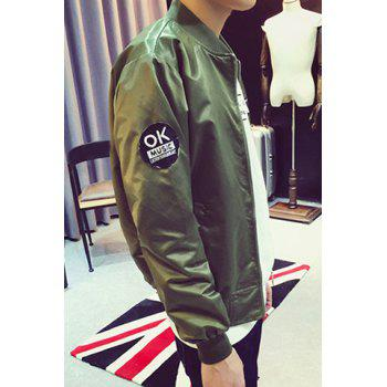 Fitted Stand Collar Trendy Letter Pattern Ribbon Design Long Sleeve Polyester Men's Baseball Jacket - GREEN XL