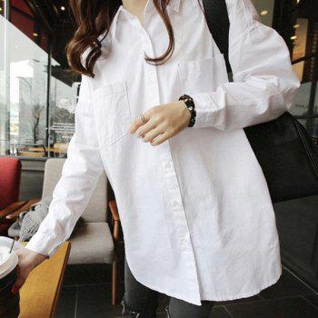 Stylish Women's Shirt Collar Long Sleeve Solid Color Zipper Design Blouse