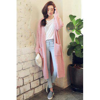 Fashionable V-Neck Pocket Design Solid Color Long Sleeve Cardigan For Women